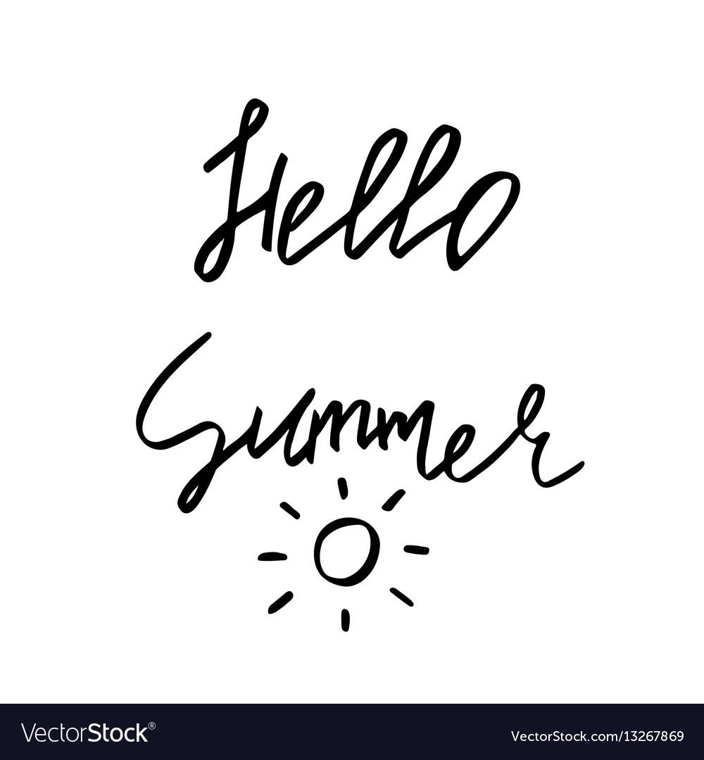 Hello summer - hand drawn brush text handmade