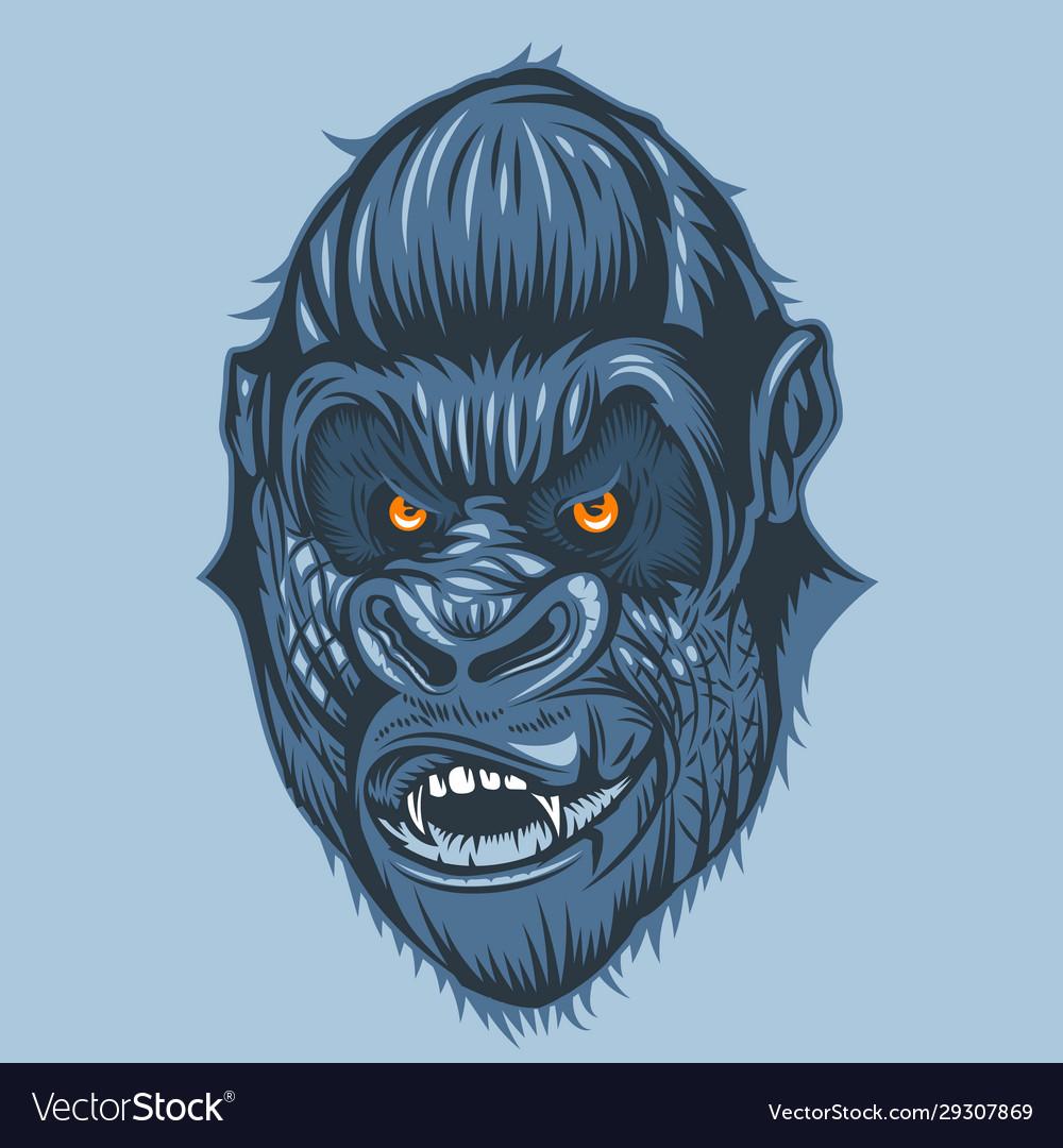 Horrible view gorilla face with orange eyes