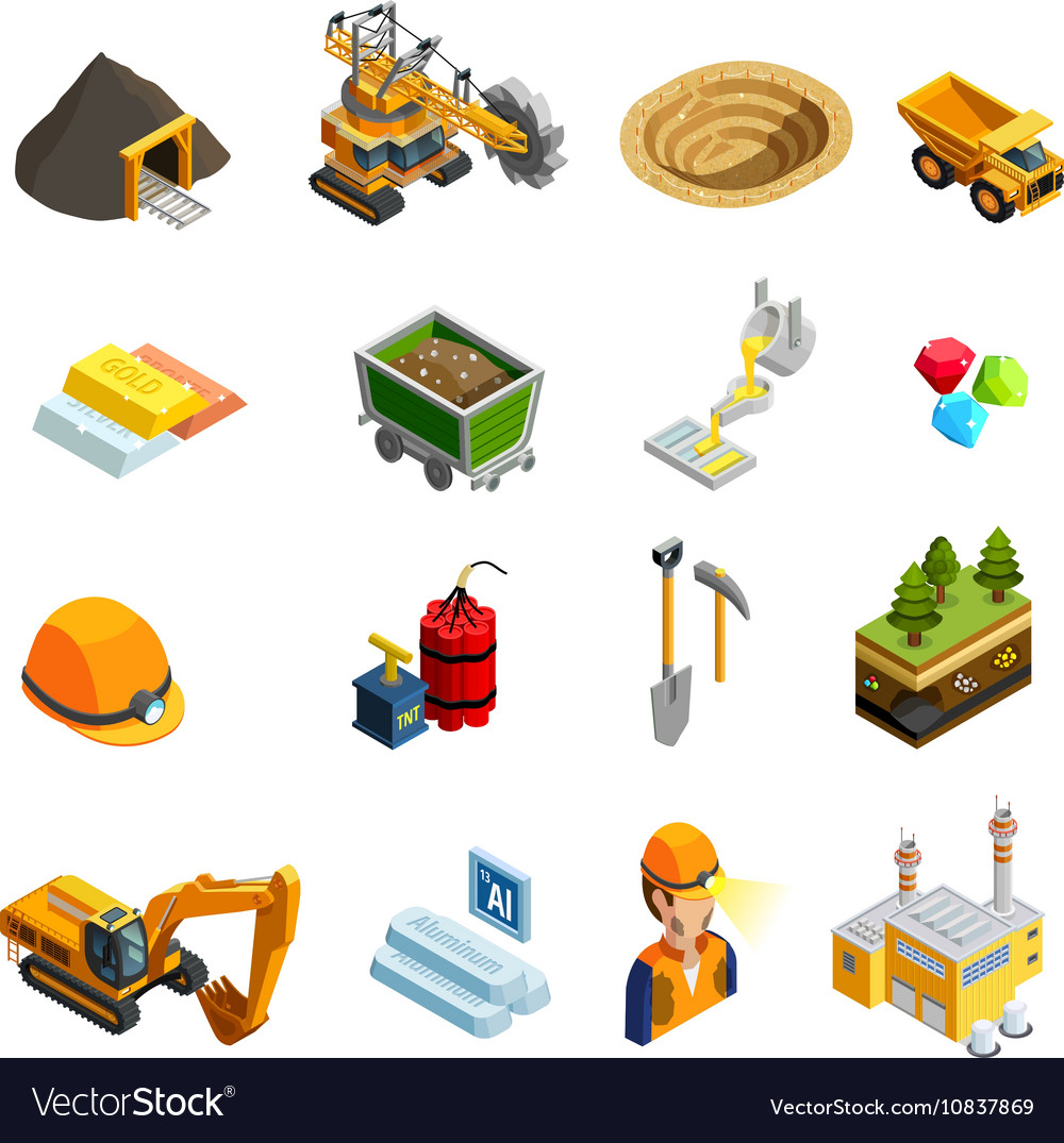 Mining Isometric Icons Set vector image