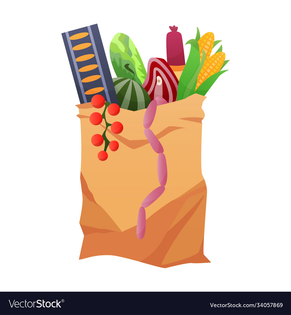 Paper shopping bag products grocery different