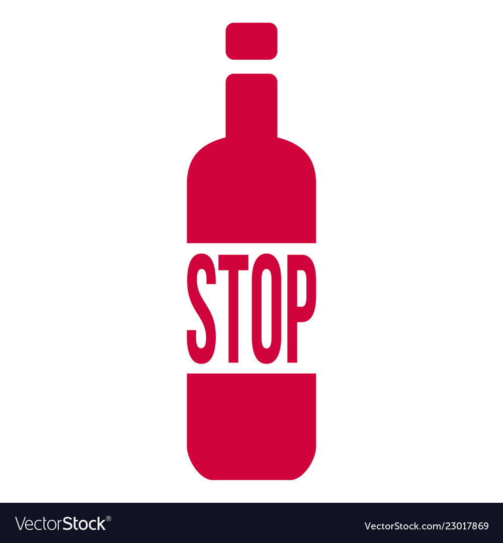 Stop alcohol sign with bottle isolated on white