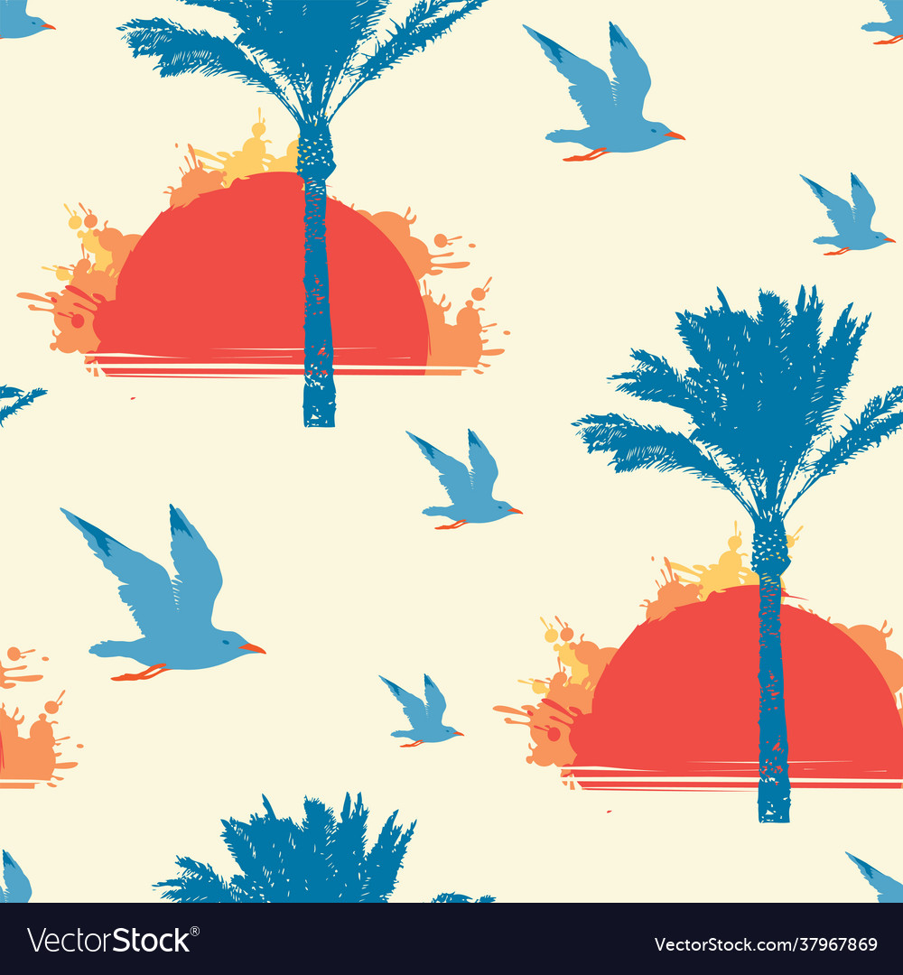 Summer seamless pattern with sun palms and gulls
