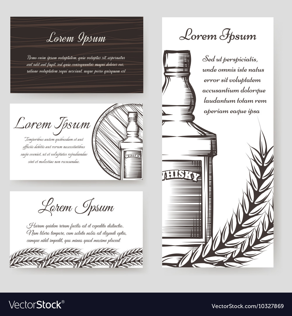 Whisky bouqlet and cards templates set