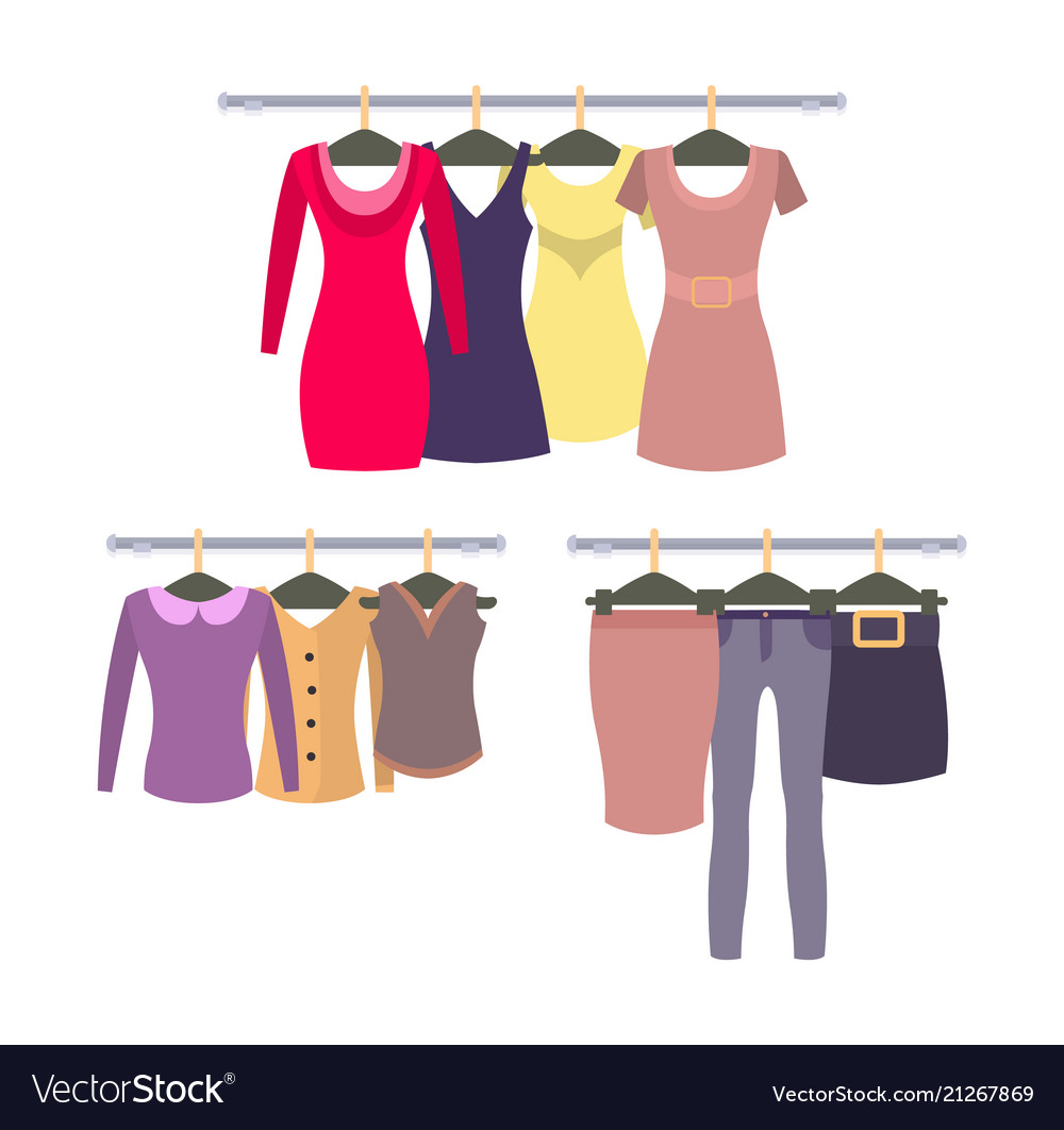 b2d909ce745 Womens clothing store shop window with clothes Vector Image
