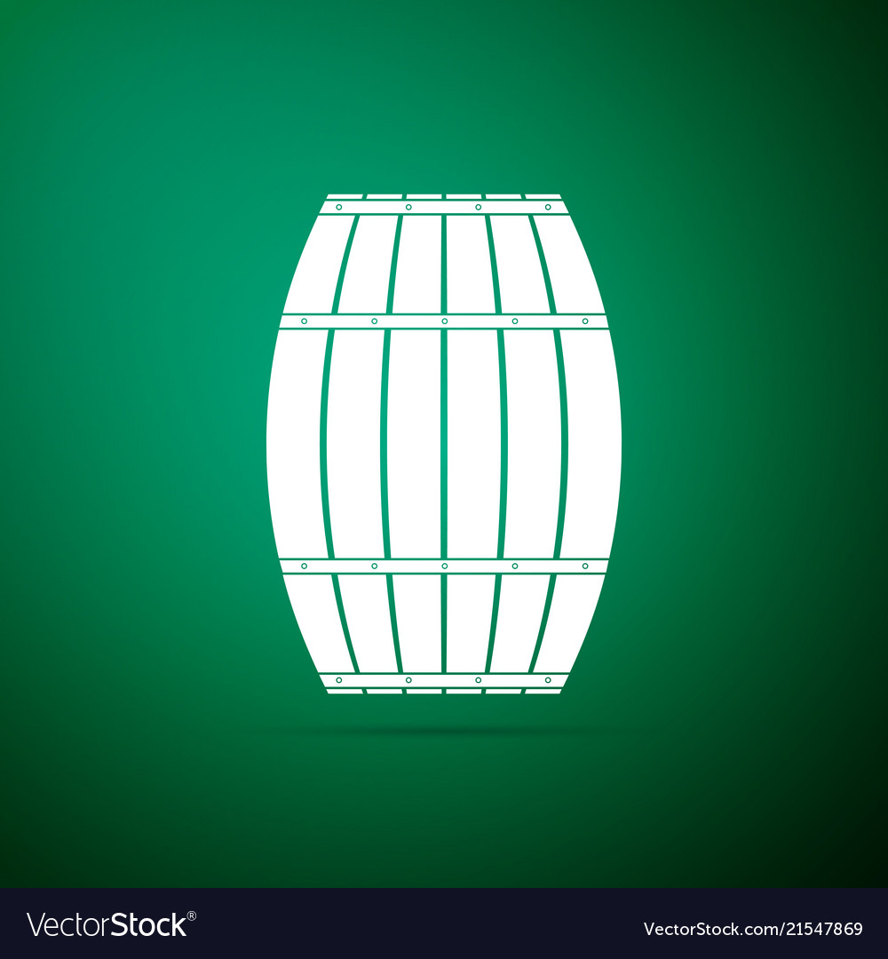Wooden barrel icon isolated on green background