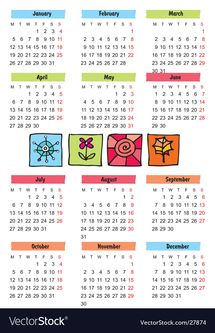 2009 seasonal calendar royalty free vector image