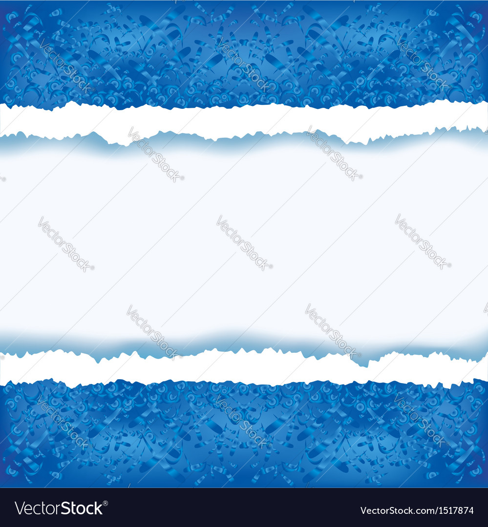 Abstract blue background with torn paper vector image