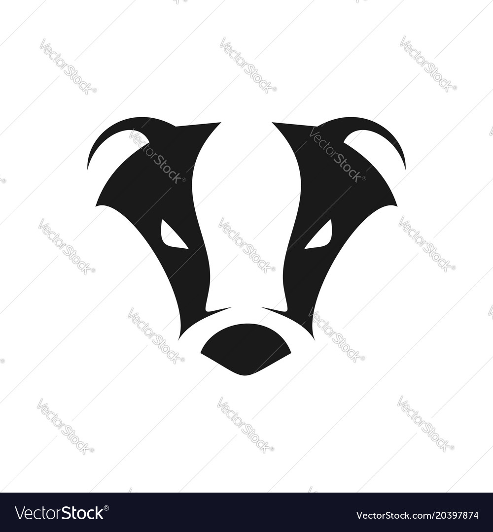 Abstract Cool Badger Head Symbol Logo Design Vector Image