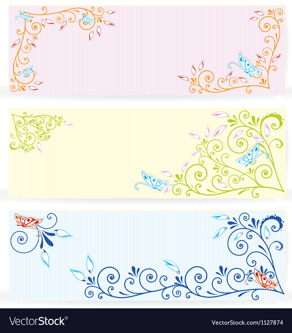 Butterfly on swirl texture banners
