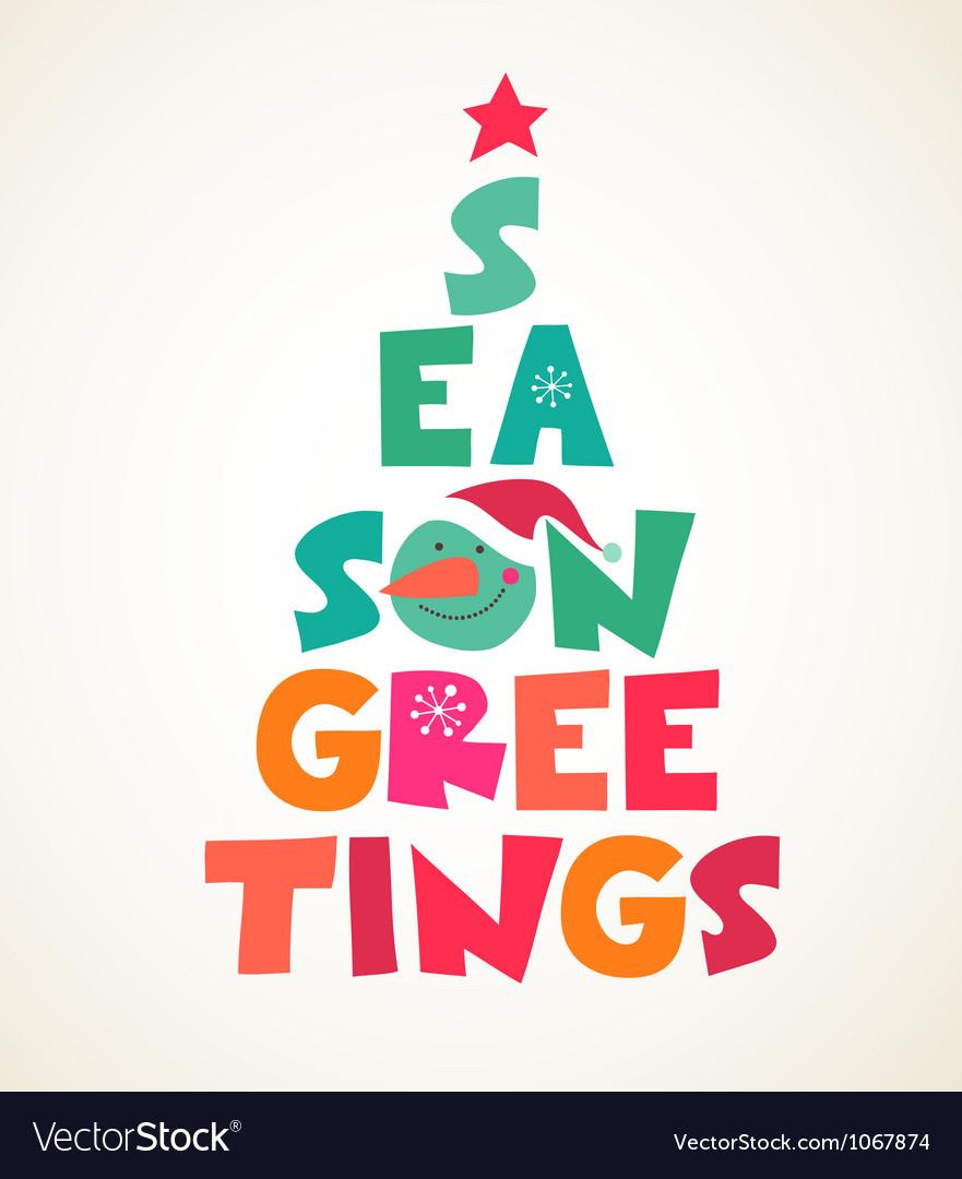 Christmas tree with season greetings cute cutout