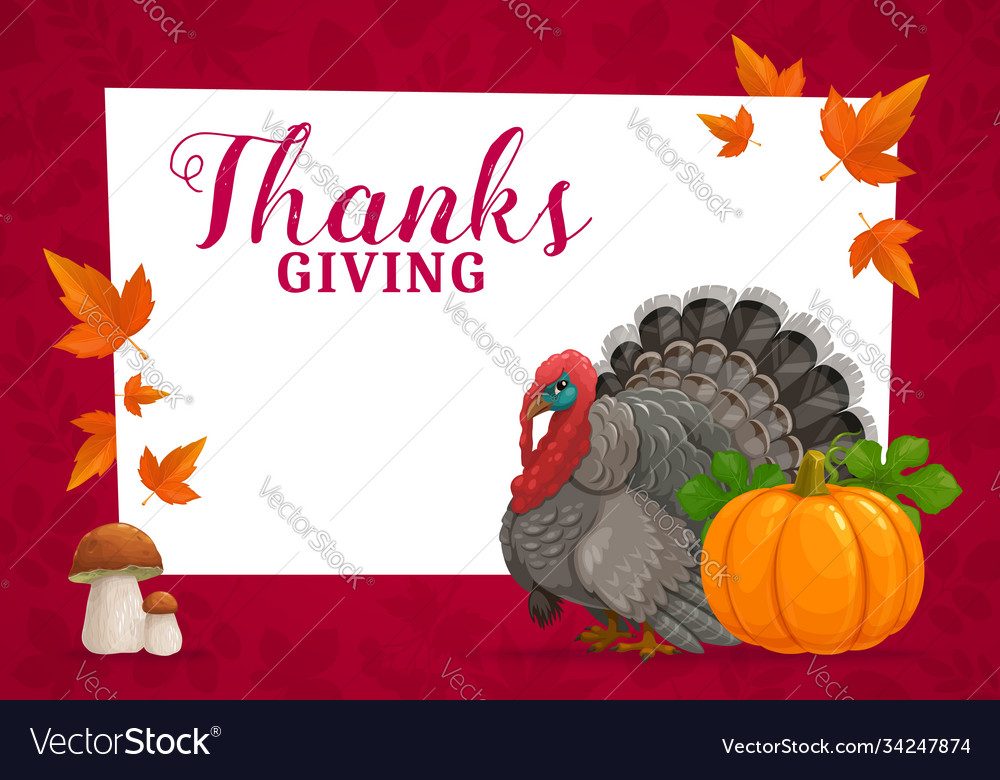 Happy thanks giving frame with turkey