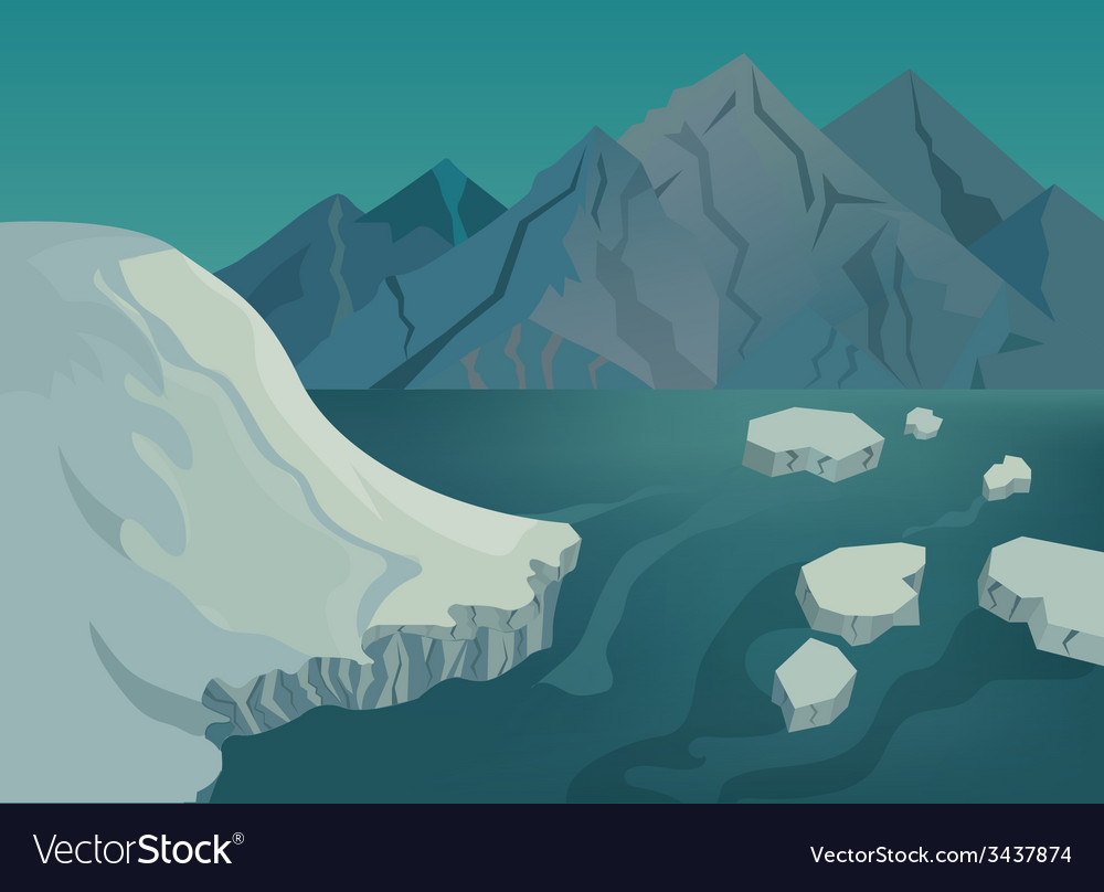 Landscape with snow-capped mountains blue lake and vector image