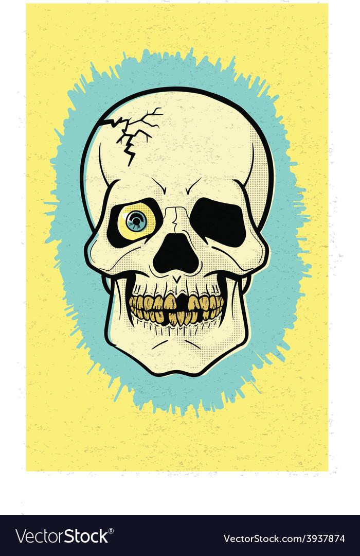 Retro Off-Print Skull vector image