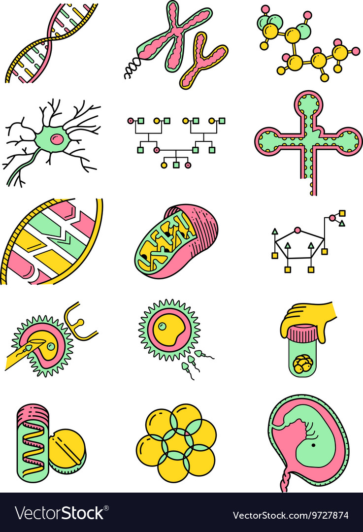 Science icons set with genetic and microbiologic o