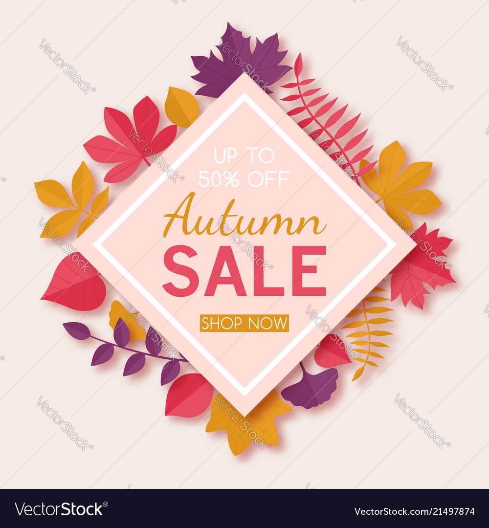 Seasonal autumn sale advertising design template