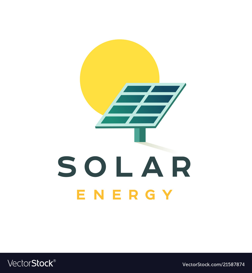 Solar energy badge concept flat logo for a
