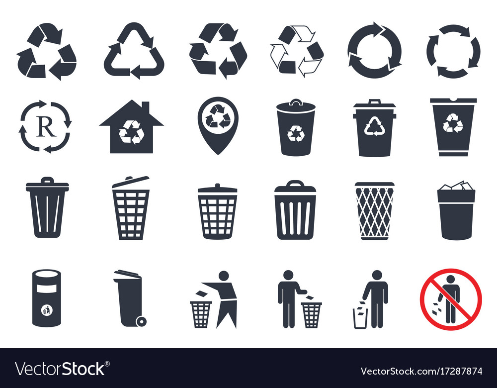 Trash icons and recycle signs