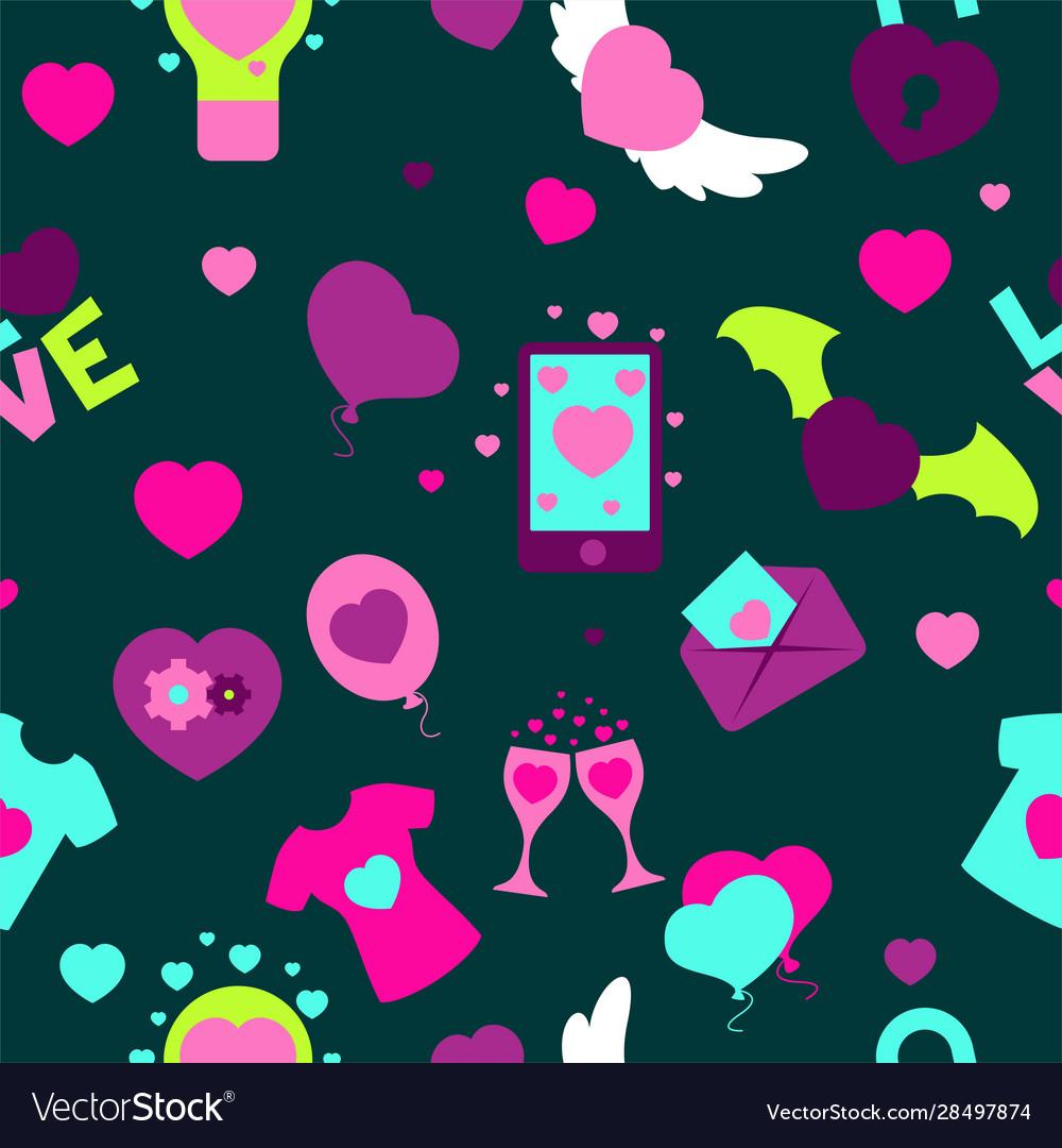 Valentine s day seamless pattern flat
