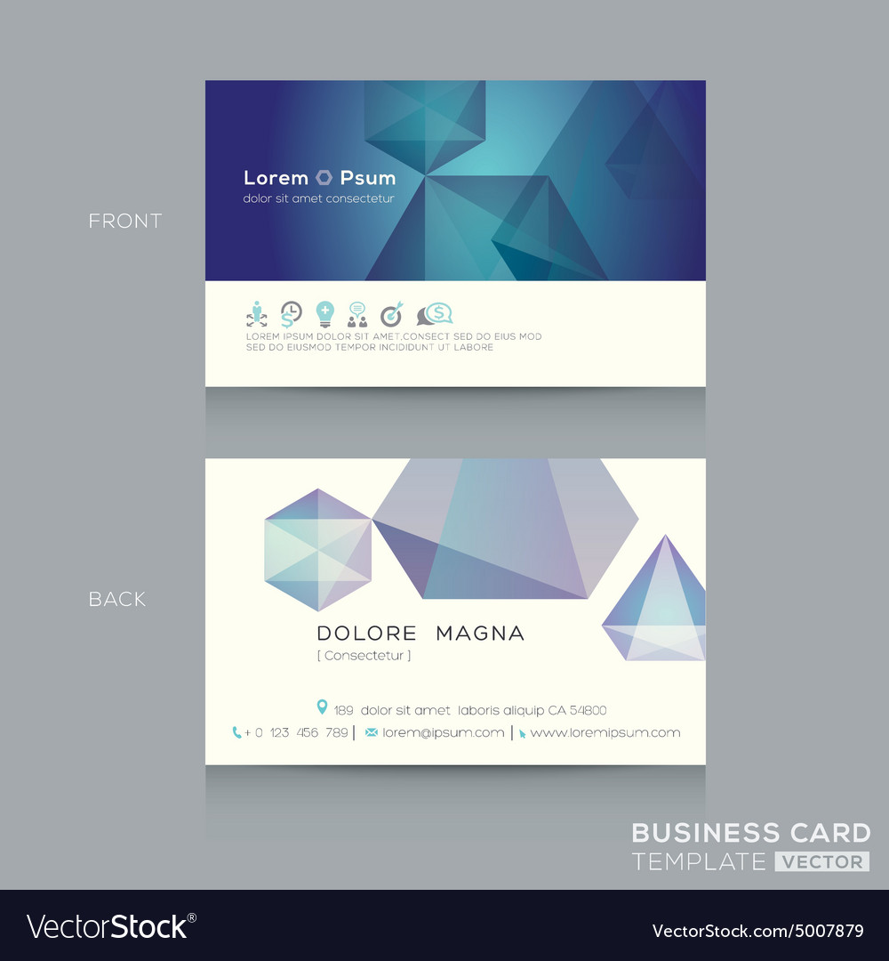 Abstract low poly design business card Template