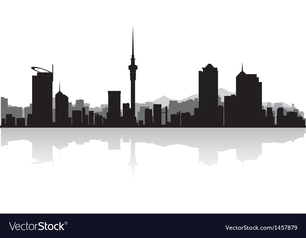 Auckland city skyline silhouette