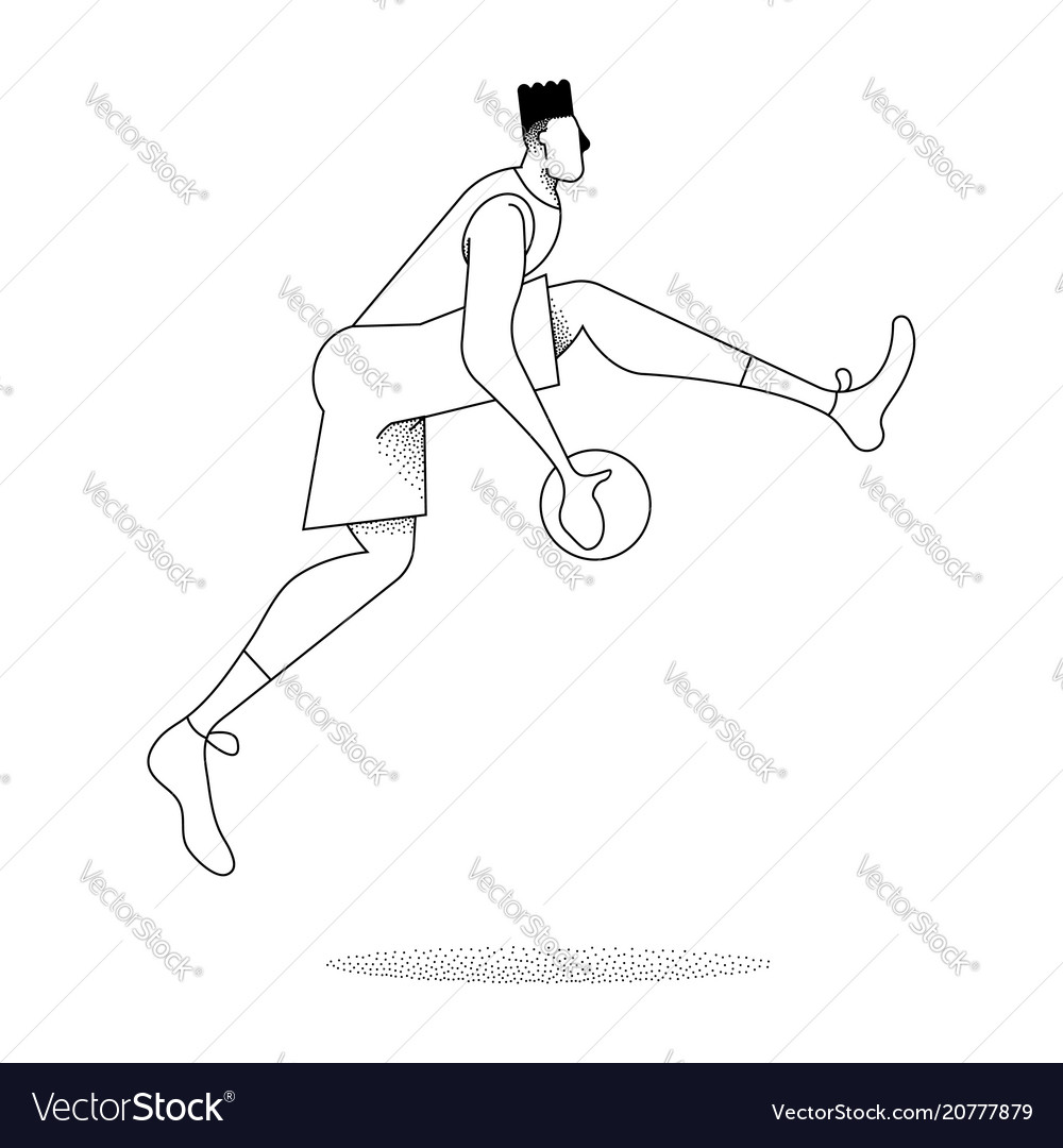 Basketball man player jump pose in outline style