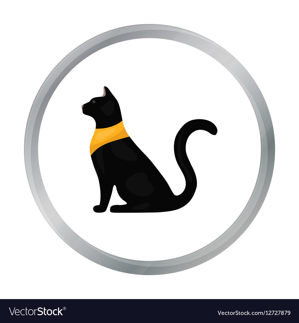 Cat Goddess Bastet Icon In Cartoon Style Isolated Vector Image