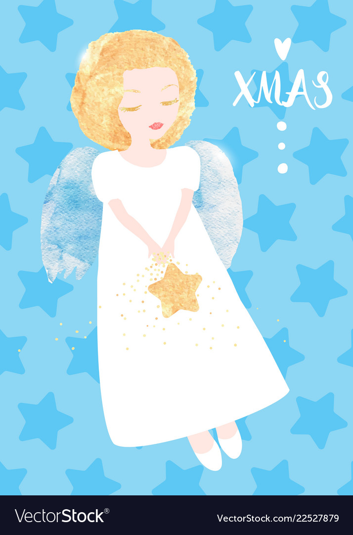 Christmas angel greeting card cute little angel