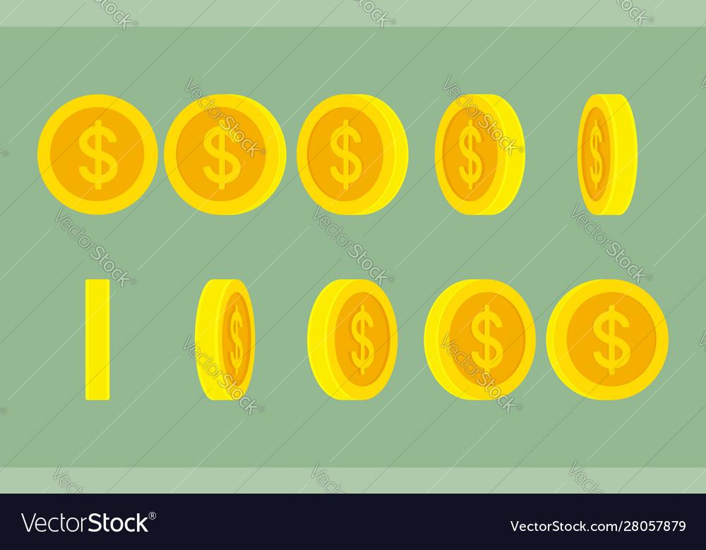 Dollar coin rotating gif animation sprite sheet