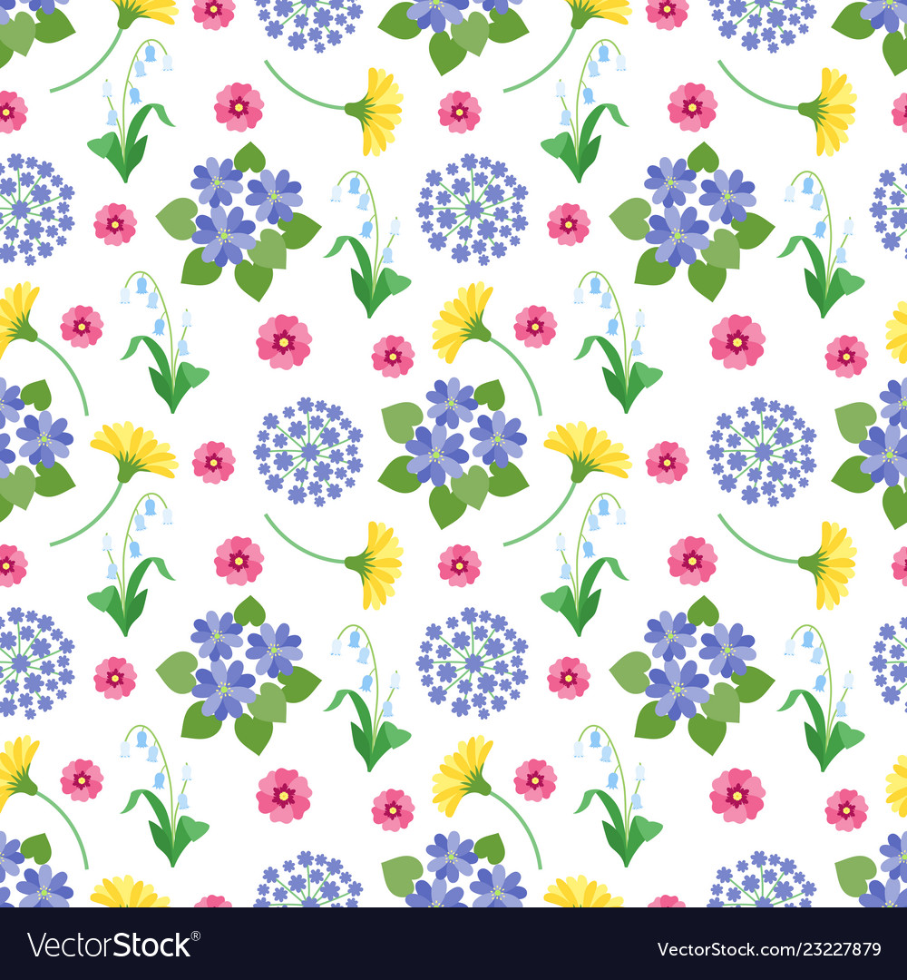 Floral seamless pattern spring and summer garden
