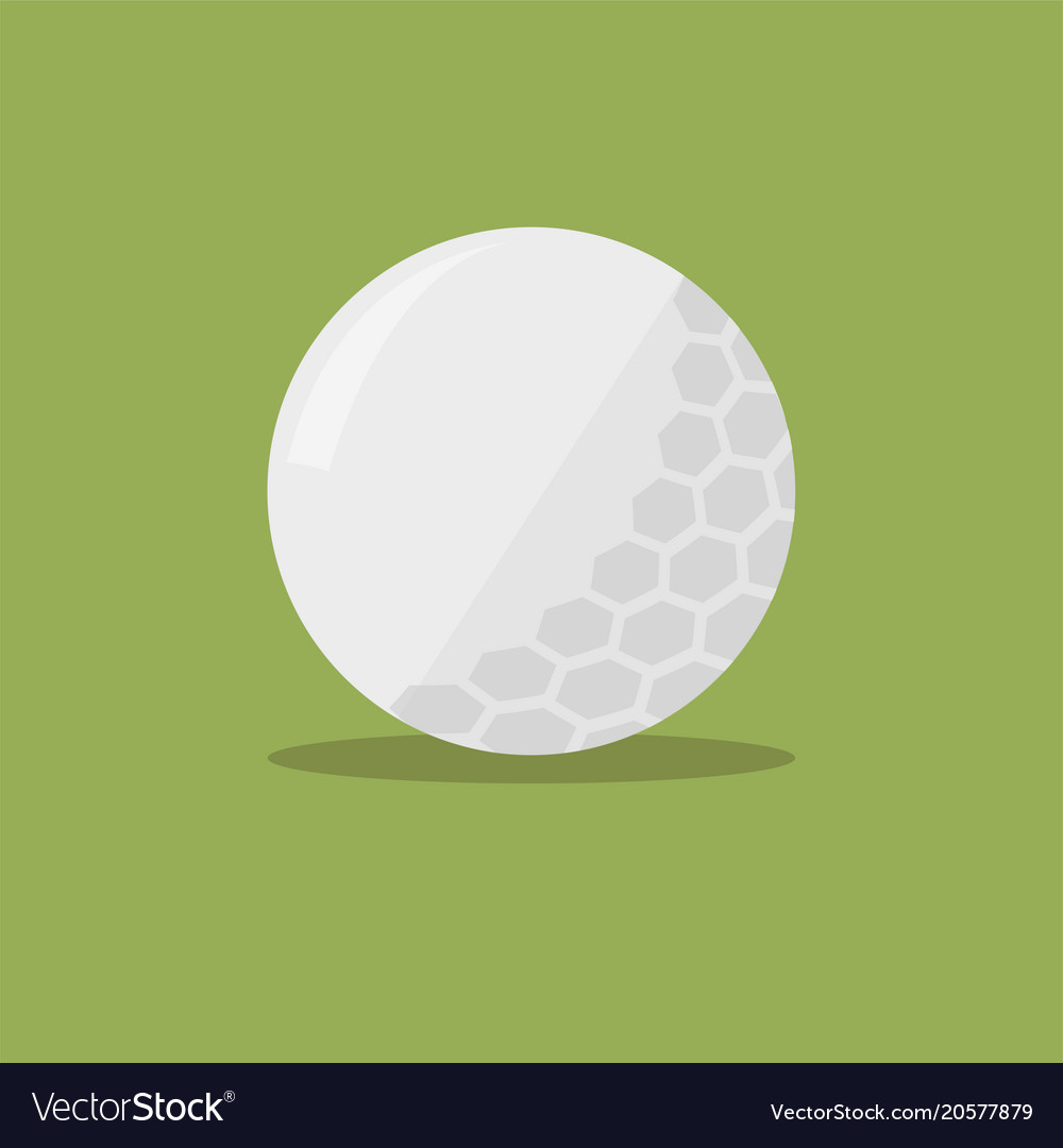 Golf ball flat icon with shadow on green