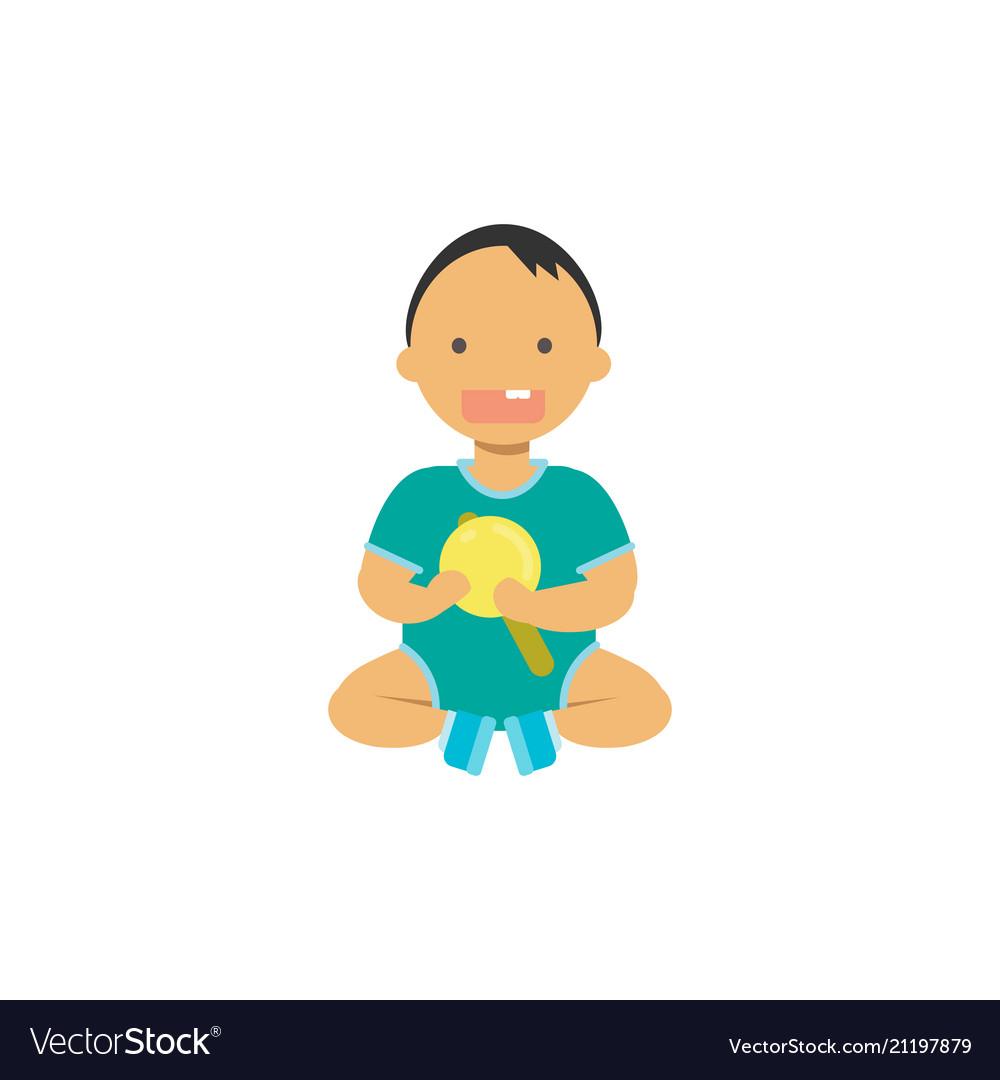 Little baby boy hold toy rattle happy children