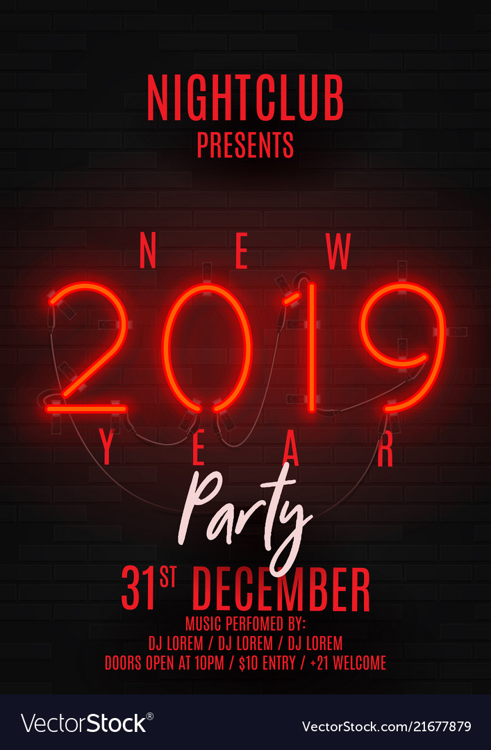 Neon poster for happy new year party