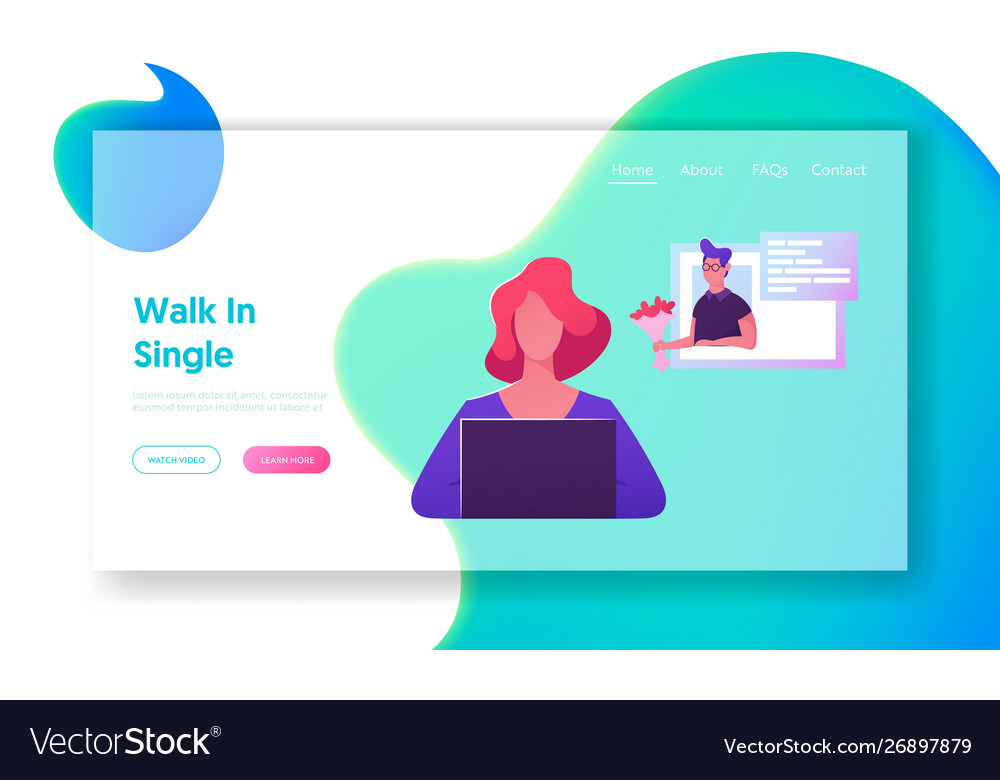 Online chatting website landing page young woman