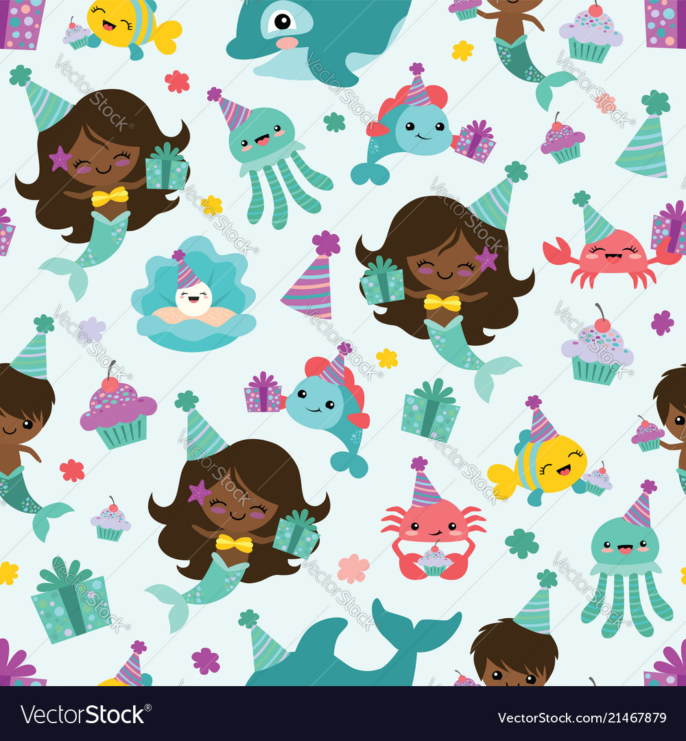 People of color mermaid birthday sea Royalty Free Vector