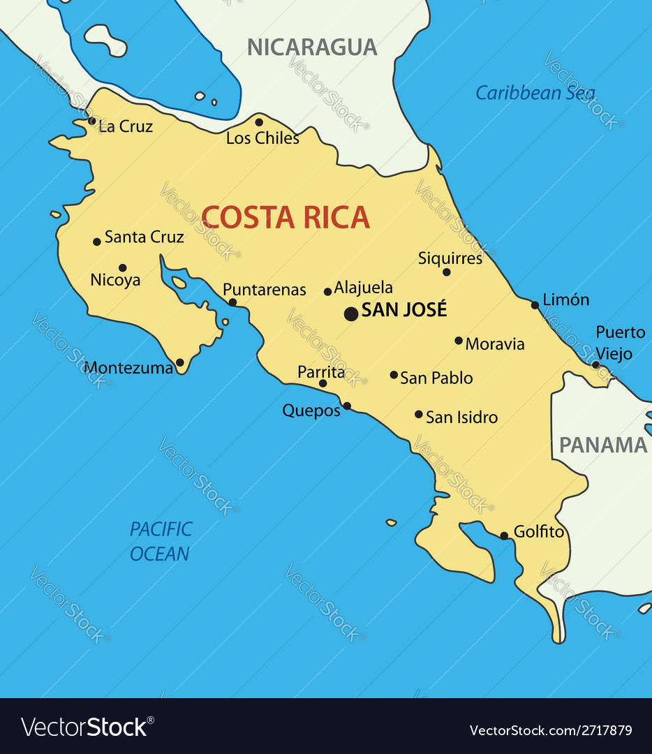 Costa Rica On Map Republic of Costa Rica   map Royalty Free Vector Image Costa Rica On Map