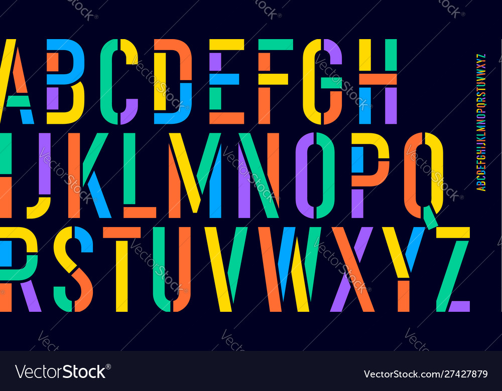 Stencil font colorful condensed alphabet and line