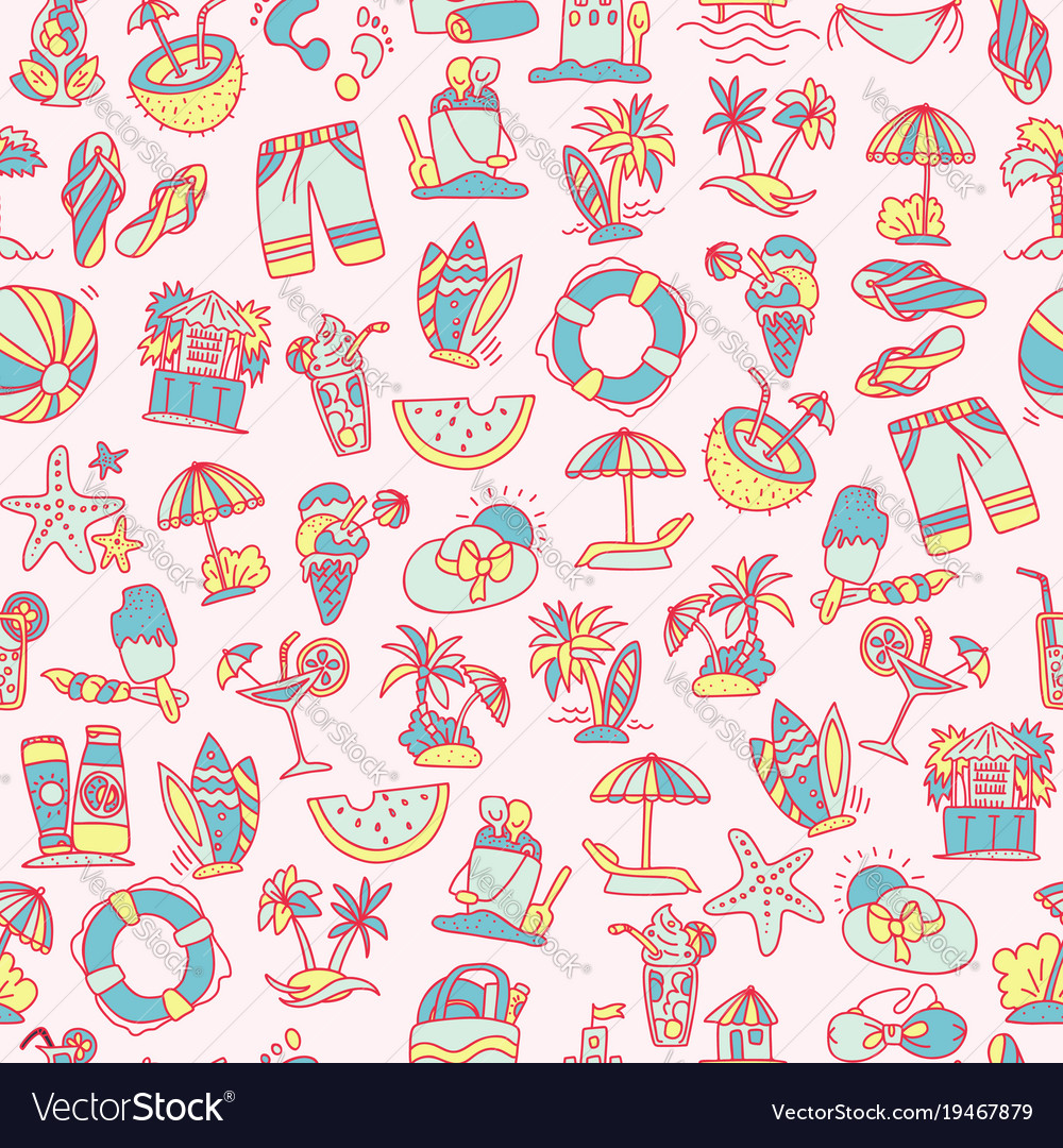 Summer travel and beach sketch seamless pattern