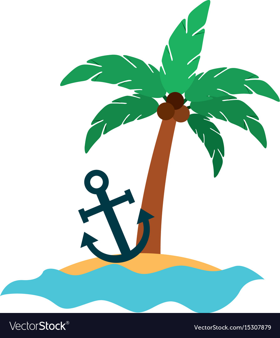 Tree palm with anchor summer icon