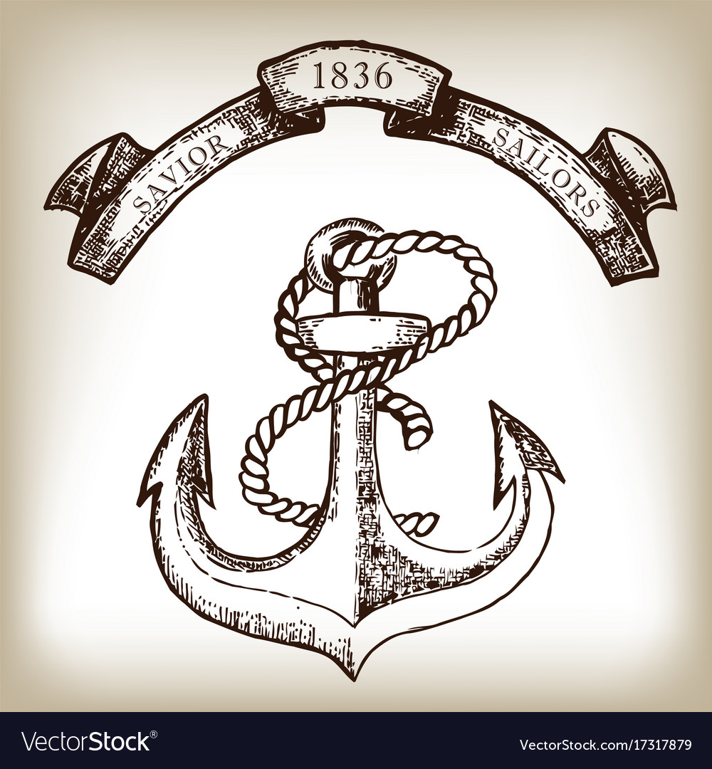 Vintage hand drawn anchor and ribbon vector image