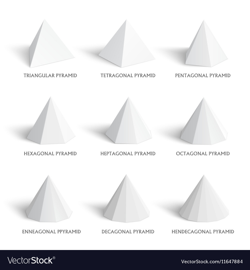 3d pyramids template realistic with shadow vector image