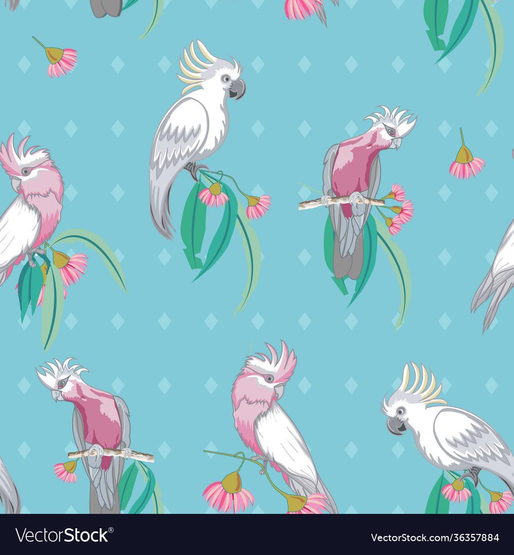 Aqua cockatoos and galah australian birds seamless