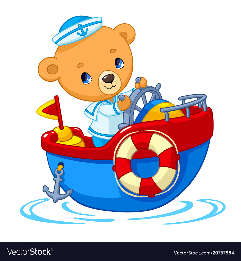 Bear sailor on boat cartoon