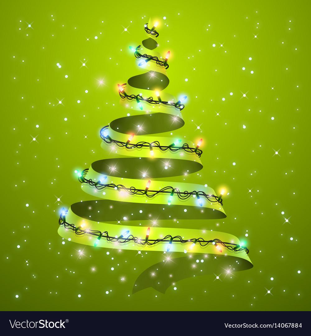 Christmas tree ribbon on background glowing