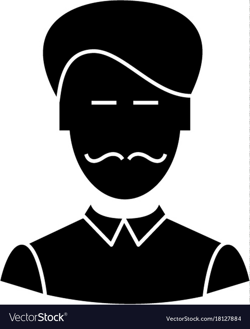 Clerk with moustache icon