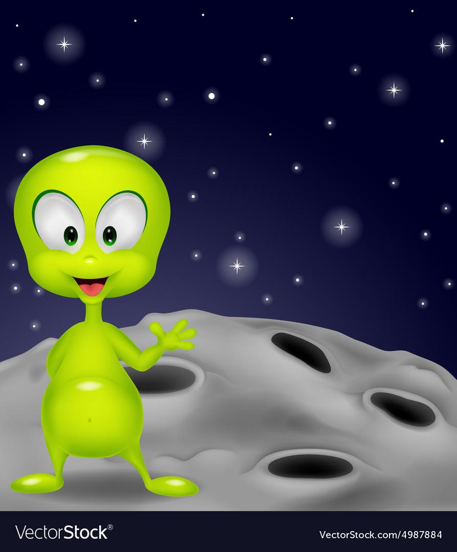 Cute green alien waving hand