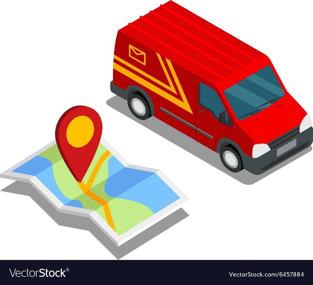 Delivery isometric 3d van car truck map cargo