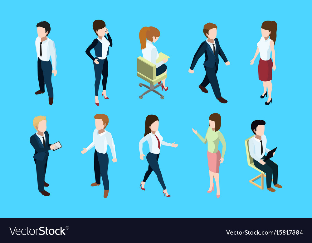 Different business peoples standing and sitting in