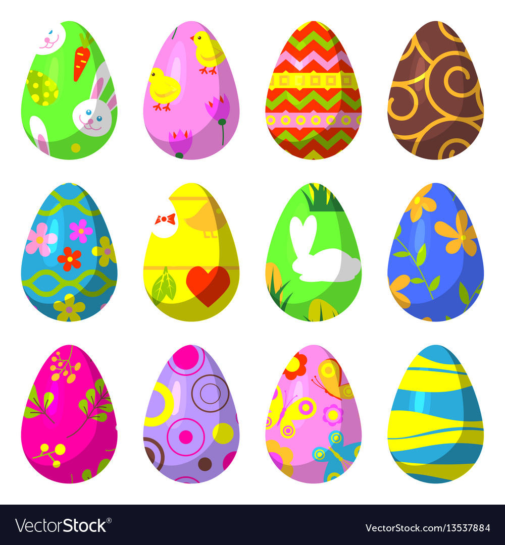 Easter eggs painted with pattern