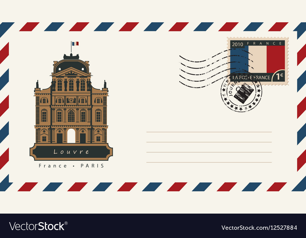 Envelope with a postage stamp with Louvre