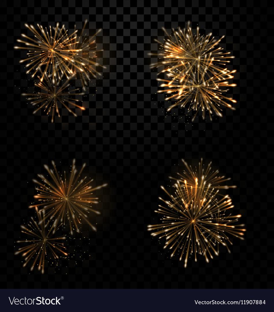 Festive Set Fireworks Salute on Transparent